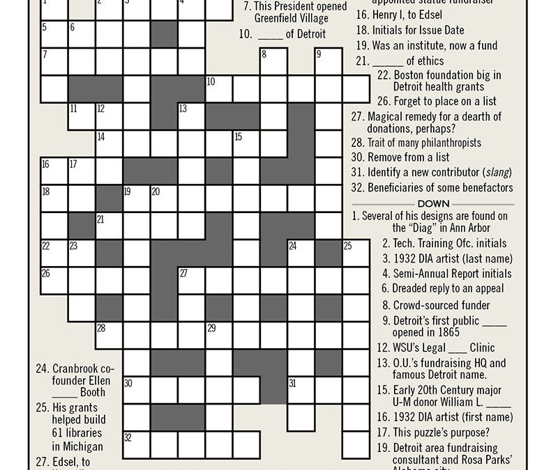 Think You Know Detroit? Solve Our Detroit Philanthropy Crossword!